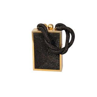 1940's Du Bonnette Brass Framed Black Beaded Box Bag For Sale