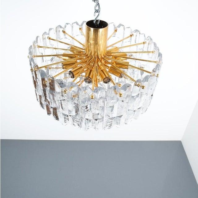 Brass j.t. Kalmar Palazzo Chandelier Gold Brass Glass Lamp, Austria 1960 For Sale - Image 7 of 12