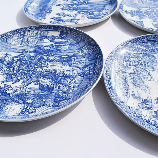 Spode Georgian Blue and White Ceramic Christmas Plates - Set of 4 For Sale In Oklahoma City - Image 6 of 12