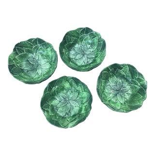 Set of 4 Vietri Foglia Leonardo Majolica Green Leaf Bowls For Sale
