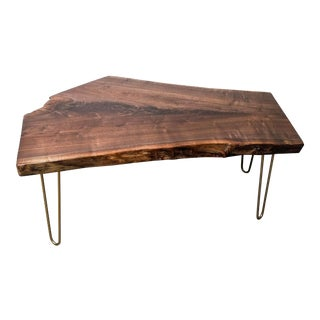 Walnut With Brass Cocktail Table