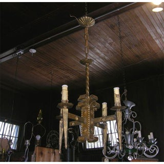 French Gilt Metal Brutalist Style Chandelier Preview