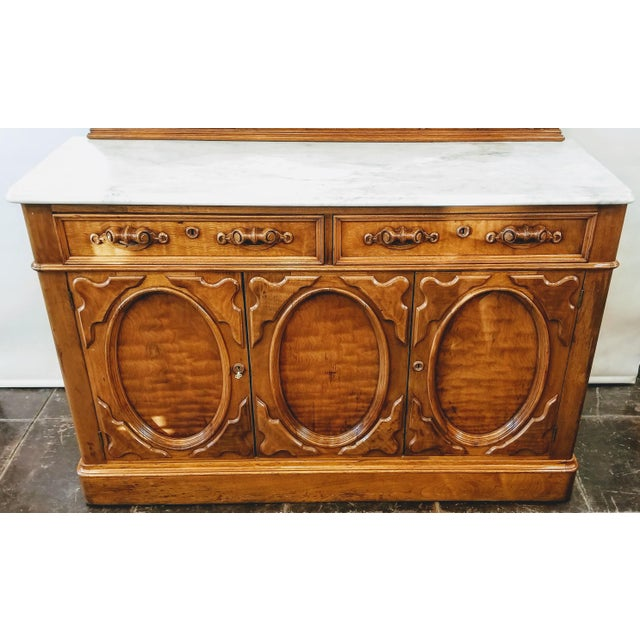 Wood American Victorian Gothic / Renaissance Revival Italian Marble Del Duomo Topped Sideboard For Sale - Image 7 of 13