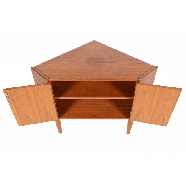 Danish Modern Low Teak Corner Cabinet - Image 7 of 8