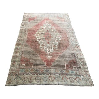 Turkish Handmade Faded Antique Wool Rug For Sale