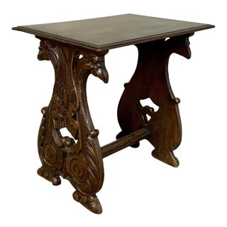 Antique End Table, French Renaissance With Griffins For Sale