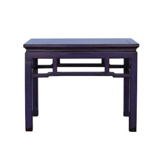 Oriental Zen Ming Style Wood Distressed Purple Lacquer Bench For Sale