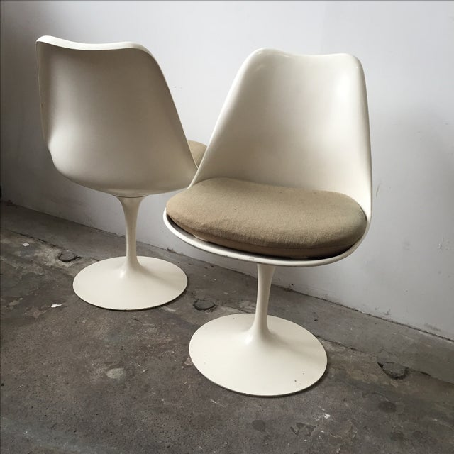 Knoll White Vintage Tulip Swivel Chairs - Set of 4 - Image 5 of 9