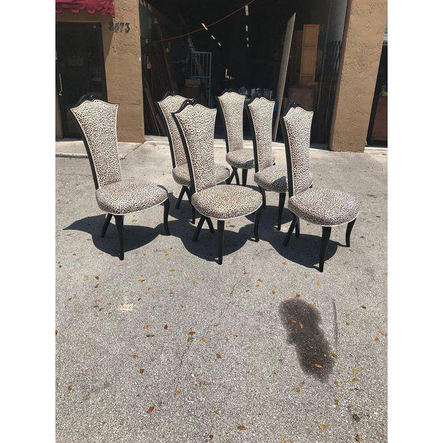 Hollywood Regency French Mid-Century Modern Ebonized Tall Back Dining Chairs - Set of 6 For Sale - Image 3 of 13