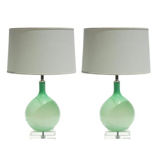 Joe Cariati Glass Lamps Green For Sale
