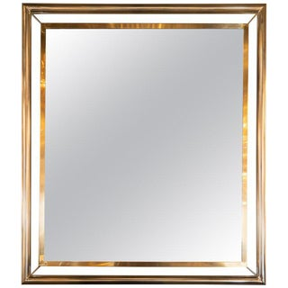 Mid-Century Rectangular Polished Brass and Tubular Chrome Wall Floating Mirror For Sale