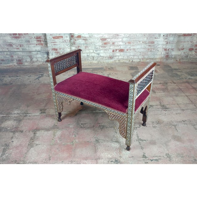 "Fabulous Syrian Bench Mother of Pearl inlaid w/Burgundy Upholstery size 38 x 19 x 29"" seat height 19"""