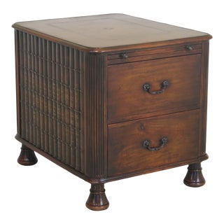 Theodore Alexander Leather Faux Books 2 Drawer Mahogany Occasional End Table For Sale