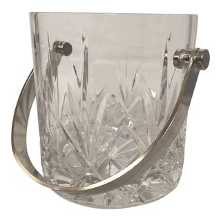 1980s Crystal & Silver Plate Ice Bucket For Sale