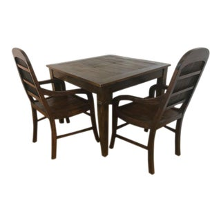 Teak & Rattan Dining Table Set