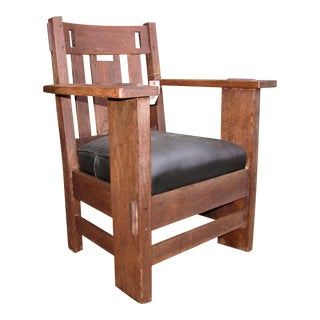 Antique Charles Stickley Armchair With Cutouts W4808 For Sale