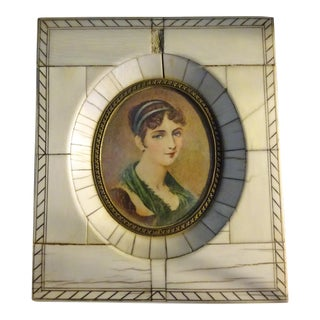Antique Miniature Painting of a Young Matron For Sale