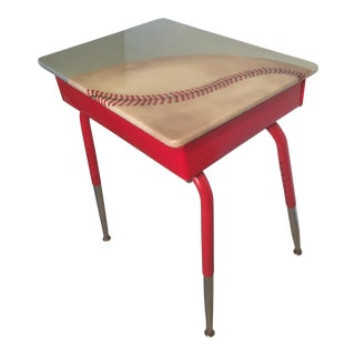 Vintage Open Front Hand Painted Baseball Desk For Sale