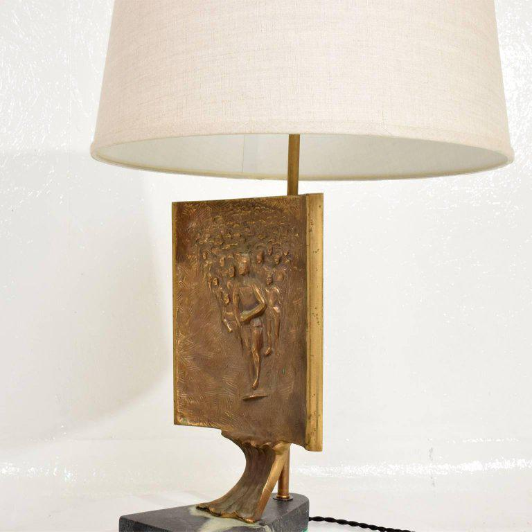 Luxury Mid Century Modern Table Lamp With Italia Bronze Brutalist