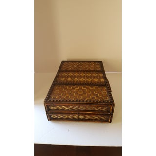 Boho Chic Vintage Wicker Two Tone Handcrafted Attache Case Preview
