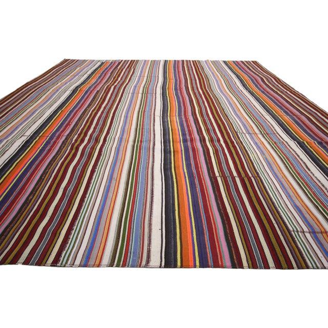 Modern Style Vintage Turkish Jajim Kilim Flat-Weave Rug With Colorful Stripes For Sale - Image 4 of 6
