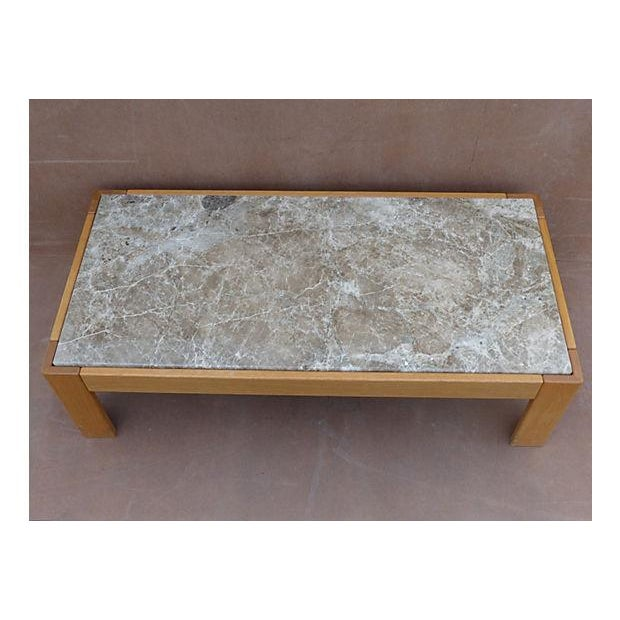 Knoll Beechwood and Marble Coffee Table For Sale - Image 5 of 10