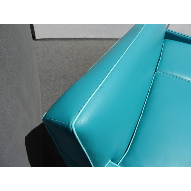 Mid-Century Turquoise Vinyl Sofa - Image 7 of 11