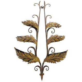 Wrought Iron and Gilt Garden Wall Hanging For Sale