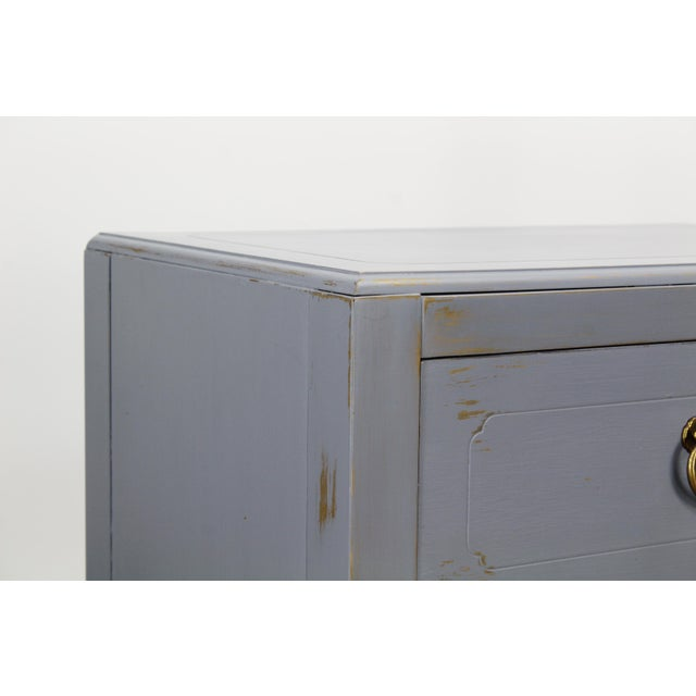 Metal Pair of Mid-Century Gray Nightstands, Hand Painted Nightstands, Pair of Gray Nightstands, 1970's Nightstands For Sale - Image 7 of 13