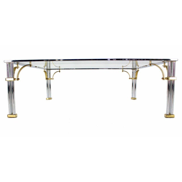 Mid-Century Modern Large Square Mid-Century Modern Brass Chrome and Glass Coffee Table For Sale - Image 3 of 9
