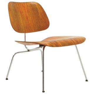 """Early Red Aniline Dyed Eames Lcm """"Lounge Chair Metal"""", Signed With Evans Label For Sale"""