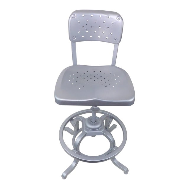 Good Form Mid-Century Modern Industrial Aluminum Drafting Swivel Stool Chair For Sale