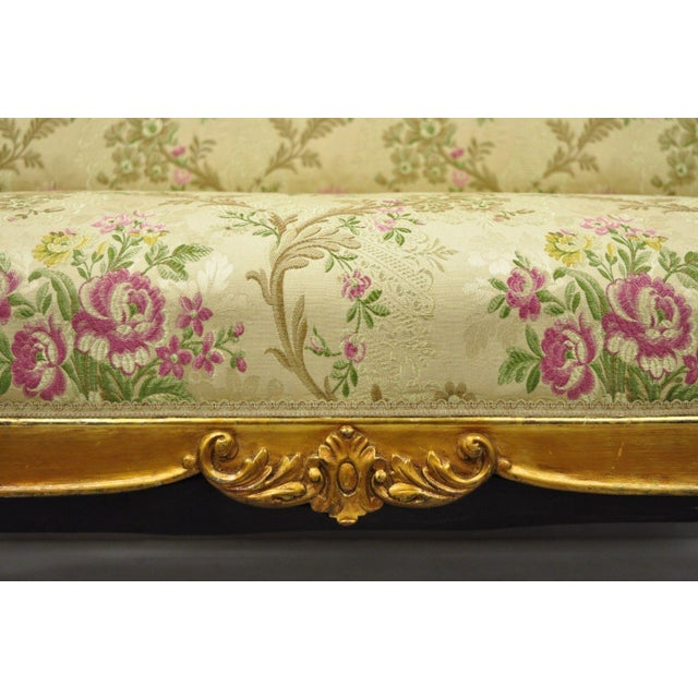 French 1920s Vintage French Louis XV Style Gold Gilt Settee For Sale - Image 3 of 10