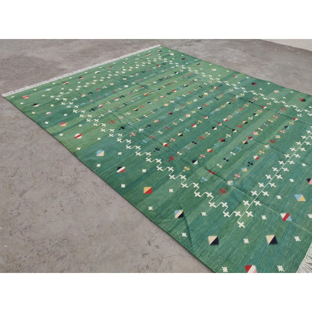 Casa Cosima Handmade Cotton Vegetable Dyed Green Shooting Star Rug For Sale - Image 4 of 11