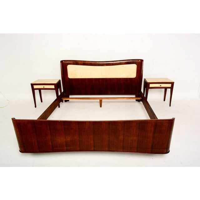 For your consideration a beautiful Mid-Century Modern Italian bed with sculptural frame. Construction with walnut and...