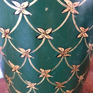Vintage Tole Painted Green Wastebasket Preview