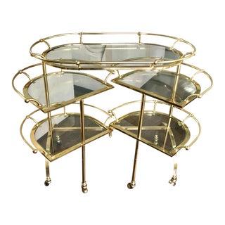 Rare Vintage Bronze & Glass Folding Cocktail Cart - Maison Jansen For Sale