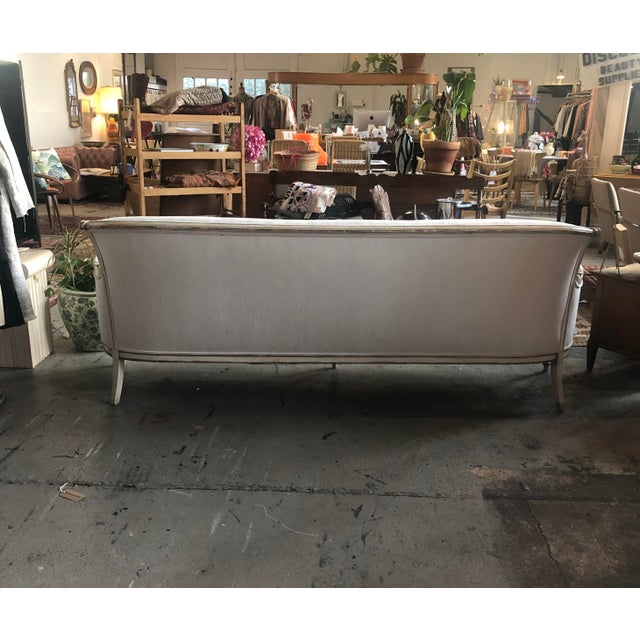 1950s Vintage White Velvet French Sofa For Sale - Image 9 of 10