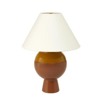 Jeffrey Bilhuber Collection Sphere Lamp in Lichen Green /Tobacco Leaf Brown For Sale