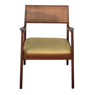 Jens Risom Style Walnut Cane Back Armchair For Sale