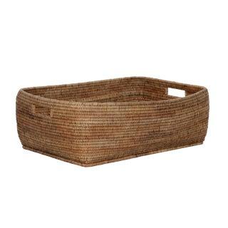 Artifacts Rattan Cutout Handle Basket For Sale