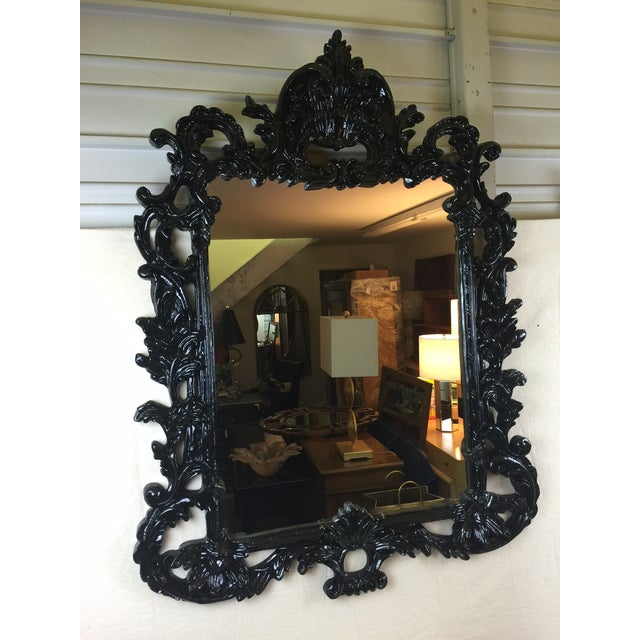 Black Lacquered Ornate MIrror - Image 2 of 5