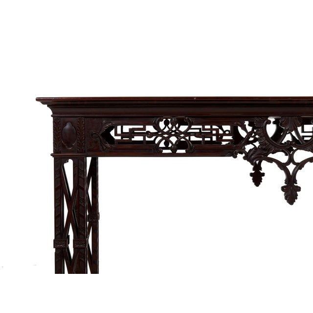 Carved Mahogany English Antique Library Console Table For Sale - Image 6 of 13