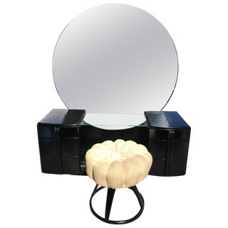 Glamorous Art Deco Black Lacquer Vanity With Stool by Haywood-Wakefield For Sale
