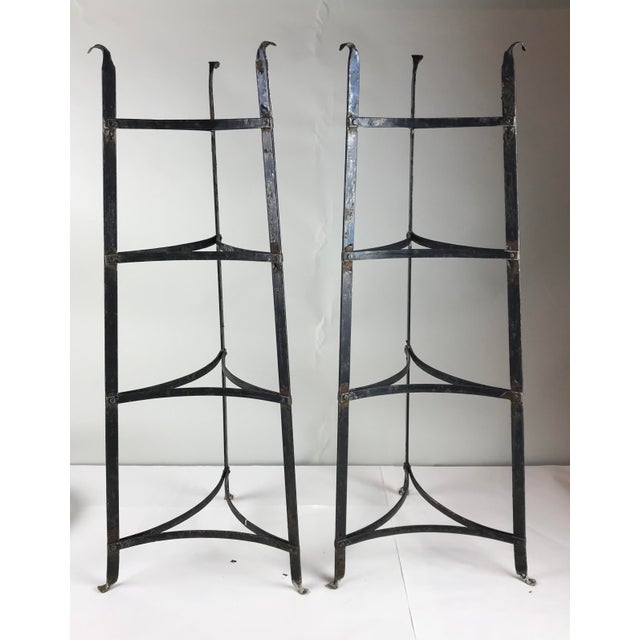 Antique Black Iron Pot Rack Shelving - a Pair For Sale In Chicago - Image 6 of 6