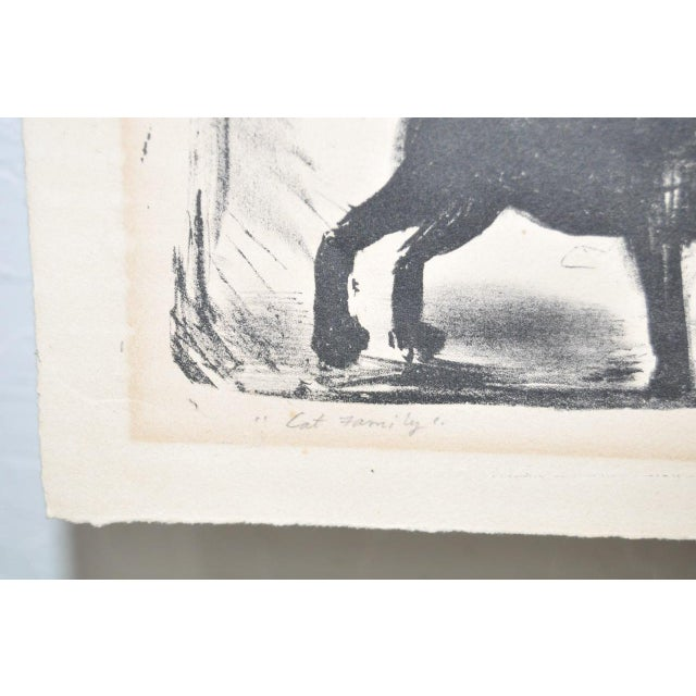 """""""Cat Family"""" Pencil Signed Lithograph For Sale - Image 4 of 5"""