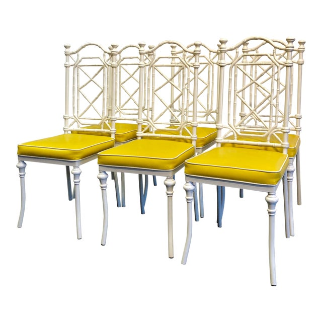 1960s Vintage Kessler for Thomasville Iron Bamboo Chairs - Set of Six For Sale