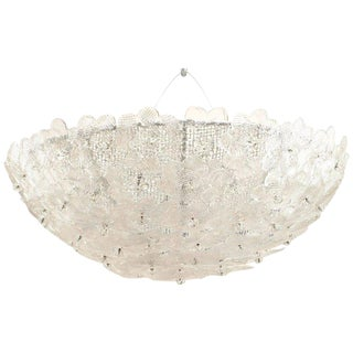 Italian 1940s Style Modern Murano Flush Mounted Dome Shape Ceiling Fixture For Sale