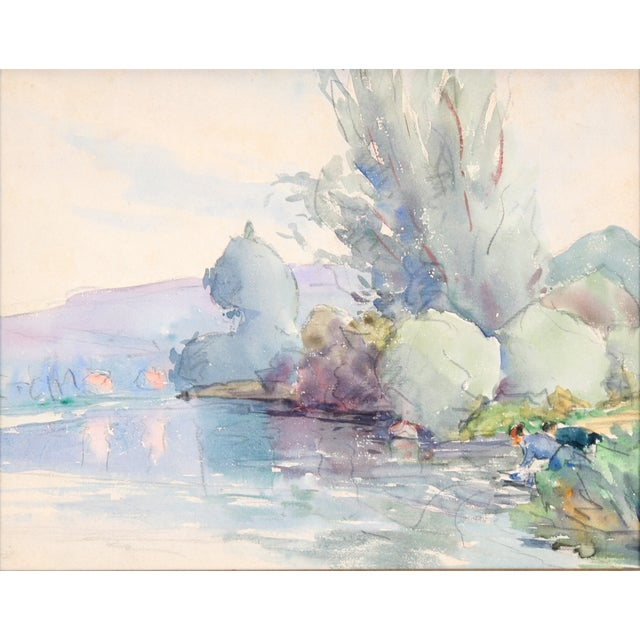 """Lake in France"" Painting, C. 1930 - Image 2 of 4"