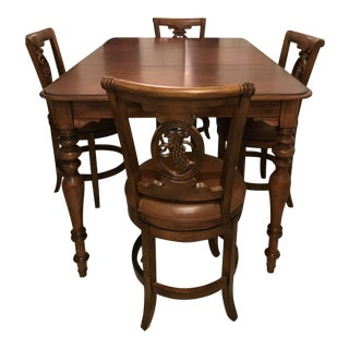 Frontgate Provençal Grape Swivel Leather Dining Set For Sale